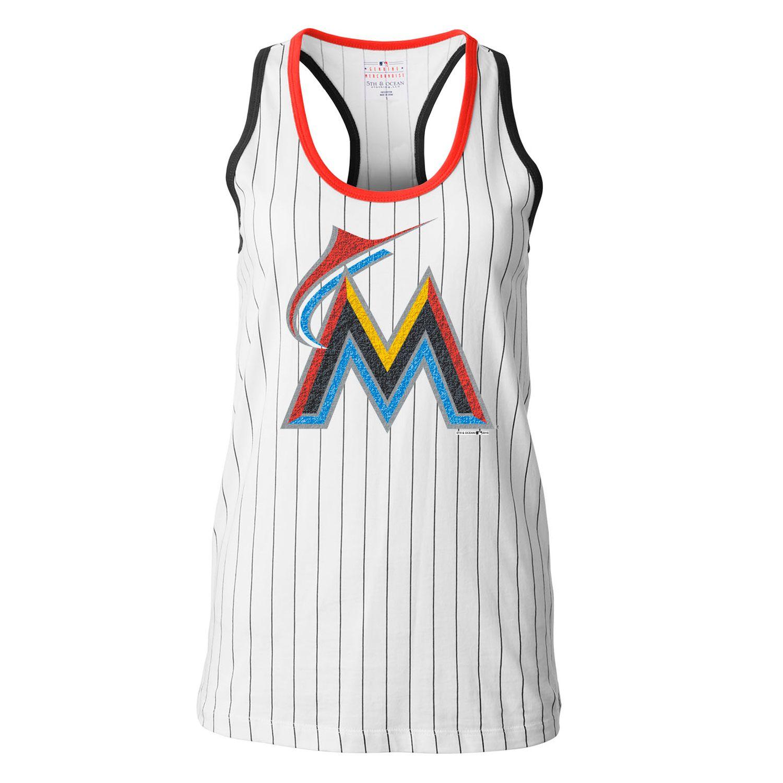 new product 8caa0 e85cb MLB Miami Marlins 5th   Ocean by New Era Women s Opening Night Pinstripe Tank  Top - White