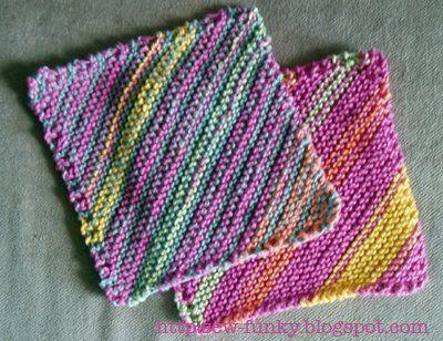 Freeknittingpattern Dishclotheswashclothsstripeddiagonal