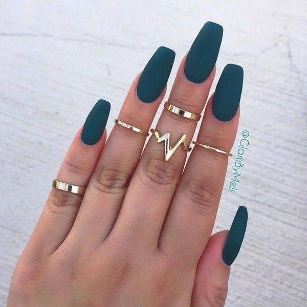 Acrylic Nails Coffin Matte Liked On Polyvore Featuring Beauty Products And Nail Care Nailcaredesign Beautifulacrylicnails Green Nails Nails Gorgeous Nails