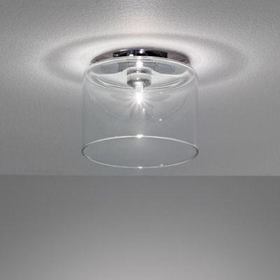 Bright Clear Glass Cylinder Shade Designer Semi Flush Mount 4 7