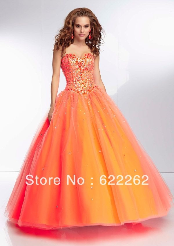 Fast Shipping Ball Gown Sweetheart Floor Length Organza Prom Dresses