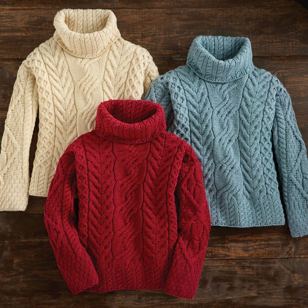 Women\'s Irish Aran Turtleneck Sweater | Fish and Clothes | Pinterest ...