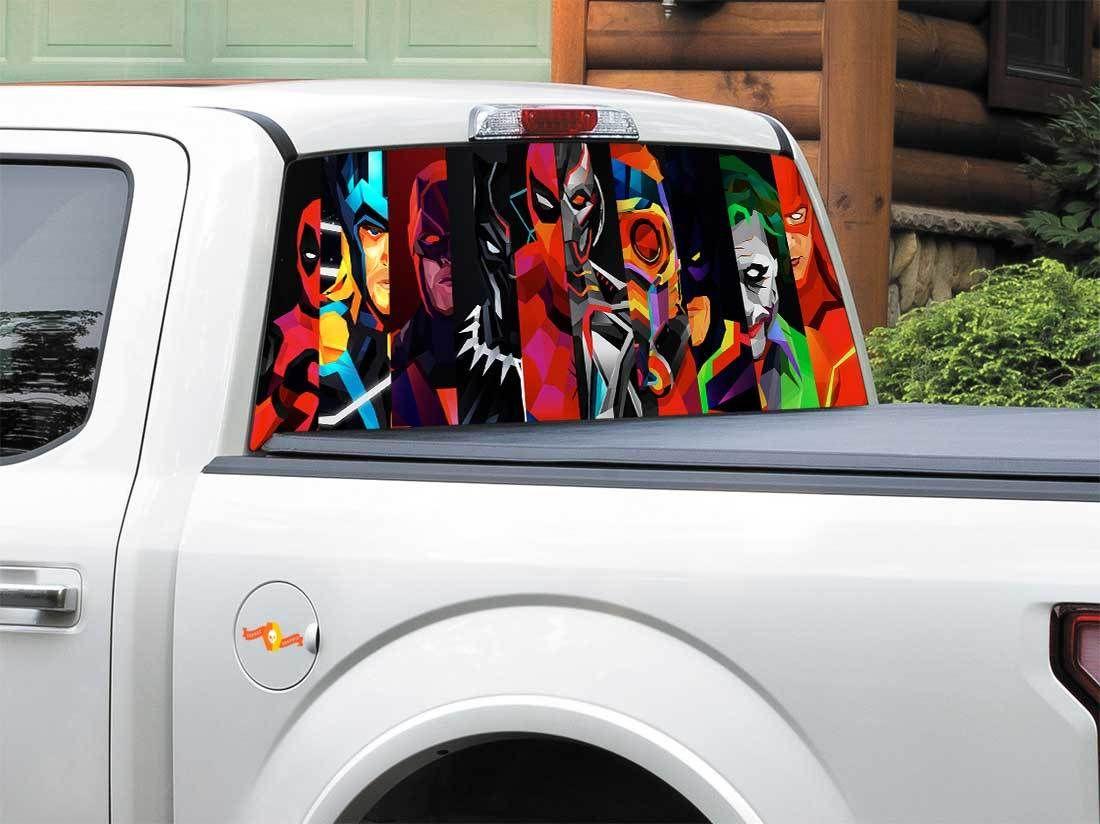 Product Batman Black Panther Daredevil Deadpool Flash Joker Spider Man Star Lord Thor Ultron Dc Comics Rear Window Decal Sticker Pick Up Truck Suv Car Any Size [ 824 x 1100 Pixel ]