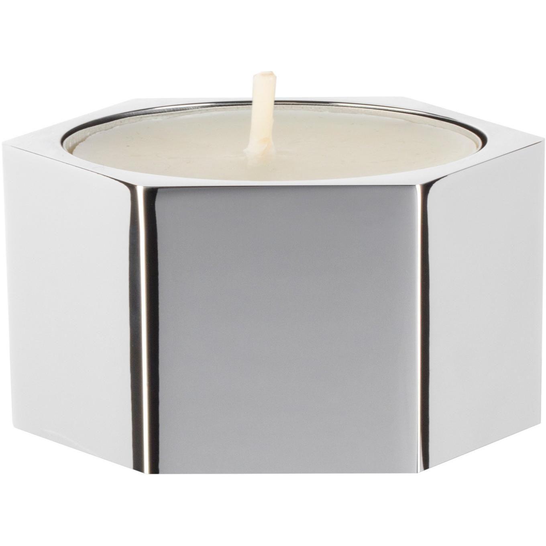 Hexagonal spa bathroom round jar tea candle holder brass
