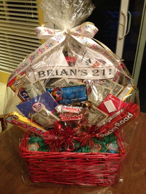 21st Birthday Gift Basket My Sister Wanted A Cute Way To Give Nephew Cash For His The Includes Candy Cards And Bills Folded So