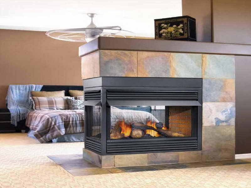 Modern Ventless Gas Fireplace With Granite Design