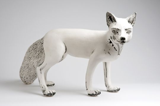 Fox by Katharine Morling  Dimensions: 60 x 50 x 40 cm Materials: Earthstone, porcelain slip, porcelain and black stain Techniques: Hand building image by Stephen Brayne