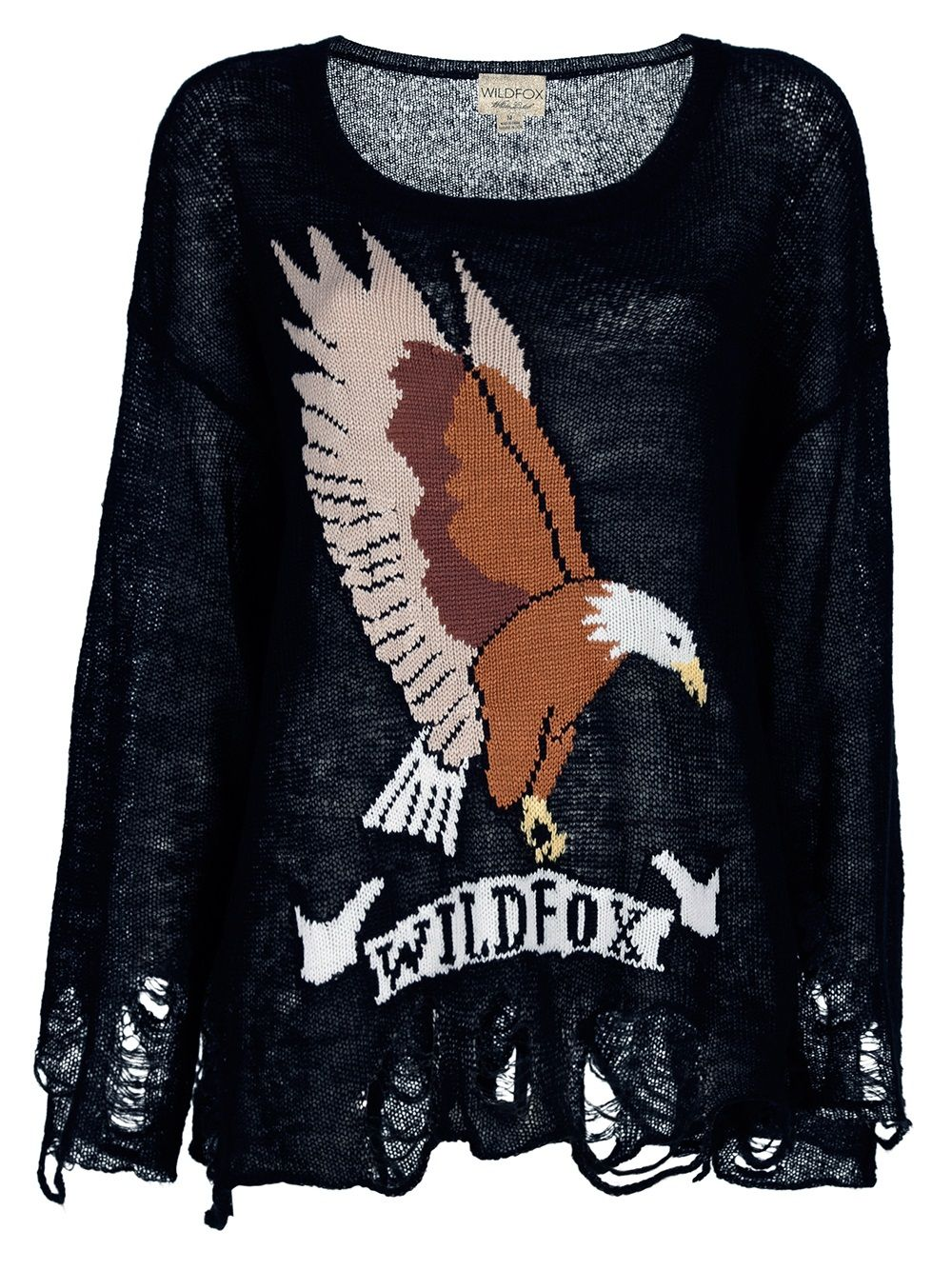 Black distressed knit sweater from Wild Fox featuring a deep round neck, a contrasting brown and white eagle knit design to the front, distressed detail at the hem and cuffs and a curtain effect to the rear.
