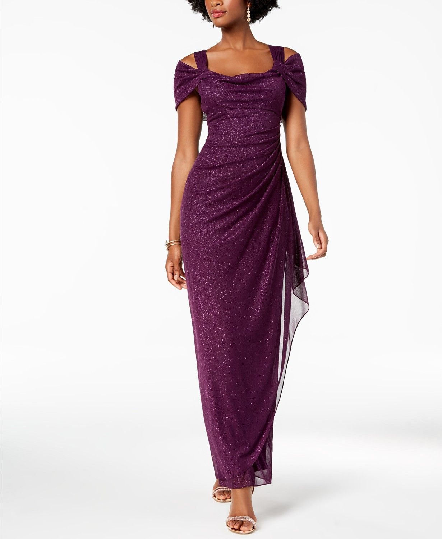 706ae00356b Alex Evenings Cold-Shoulder Draped Metallic Gown - Dresses - Women - Macy s