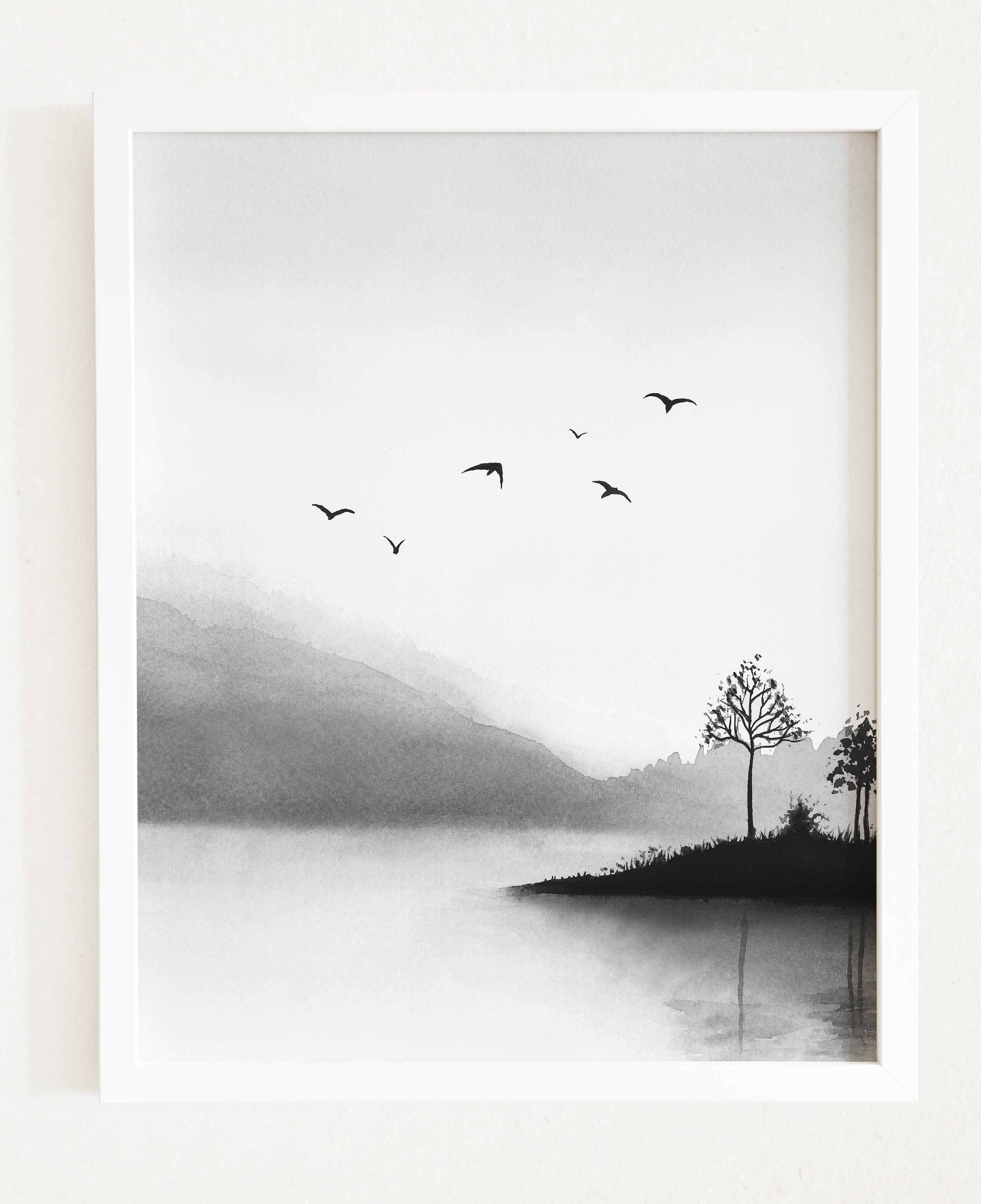 Watercolor Black And White Printable Art Misty Mountains Landscape Modern Print Lake Large Wall Art Nature Home Decor Trees Nature Wall Art Art Large Wall Art