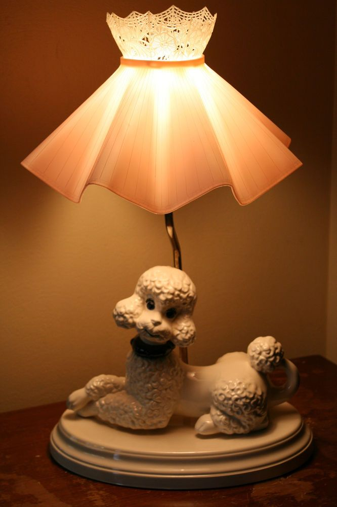 Vintage Table Lamp Shade 1950 S Poodle Lamp Ceramic Atlantic Co Orig Shade Atlant Shabby Chic Lighting Fixtures Shabby Chic Lamp Shades Creative Lamp Shades