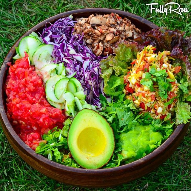 """""""Mexican Night!  Greens with tomato salsa, cucumber, purple cabbage, mushroom slaw, avocado, and corn paté with the most amazing #FullyRaw guacamole…"""""""