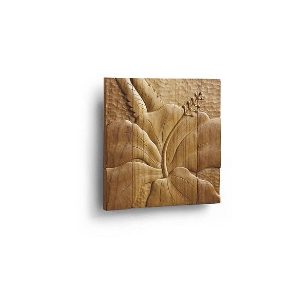 Hibiscus Teak Wall Art ($169) ❤ liked on Polyvore featuring home ...