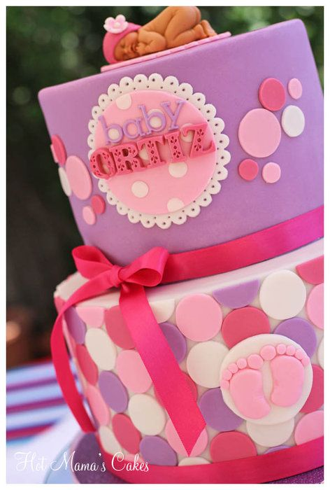 Pink polka dot baby shower - this would be cute as a birthday cake too instead of a baby shower!