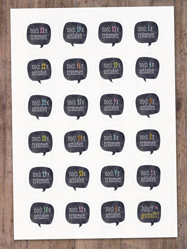 Adventskalenderzahlen - Adventskalenderzahlen Sprechblase, 40 mm - ein Designerstück von lina-art bei DaWanda #numerocalendrieraventaimprimer