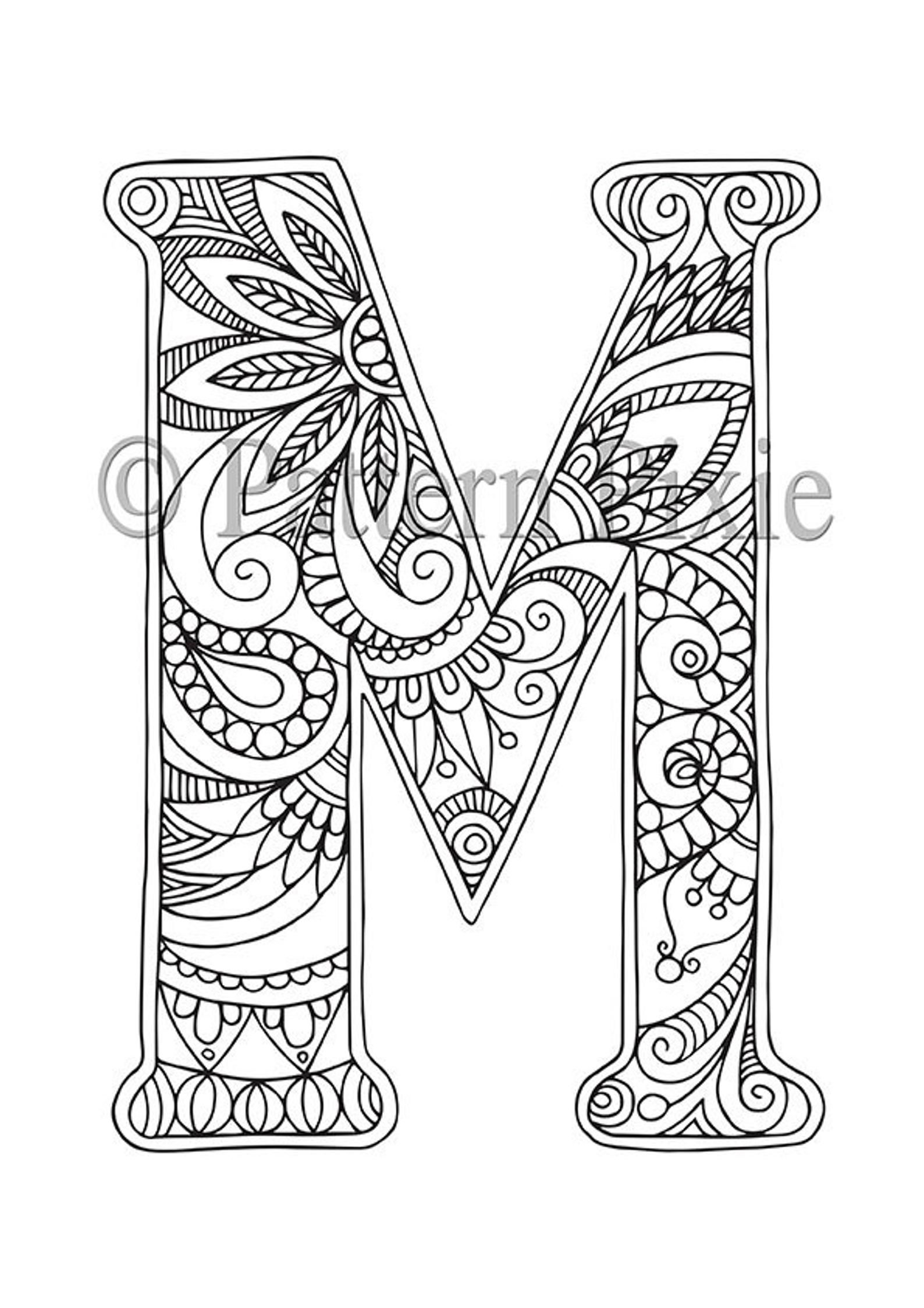 Adult Colouring Page Alphabet Letter M In 2020 With Images Lettering Alphabet Coloring Pages Alphabet Coloring Pages