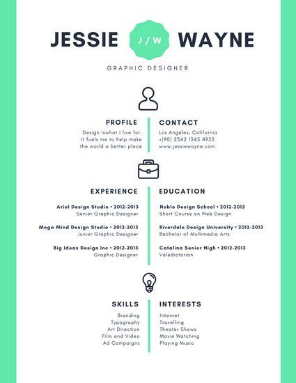 Mint Green Icons Simple Infographic Resume Resume Styles
