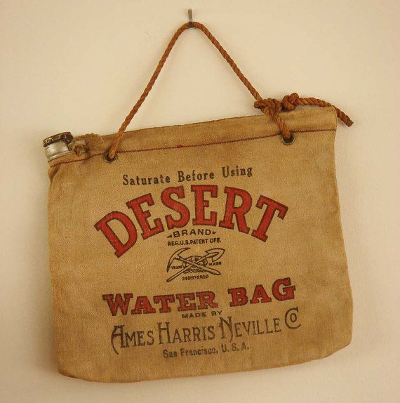 Old Burlap Bags Vintage Antique Water Bag From