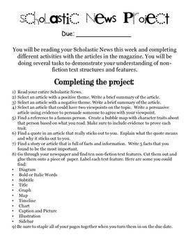 This is a great project for students to use with their classroom magazine. It will help them learn text structure and text features in a nonfiction article. They will have to respond about an article with a positive theme, negative theme, two points of view, look at quotations, find text features, and look for specific facts within different articles.