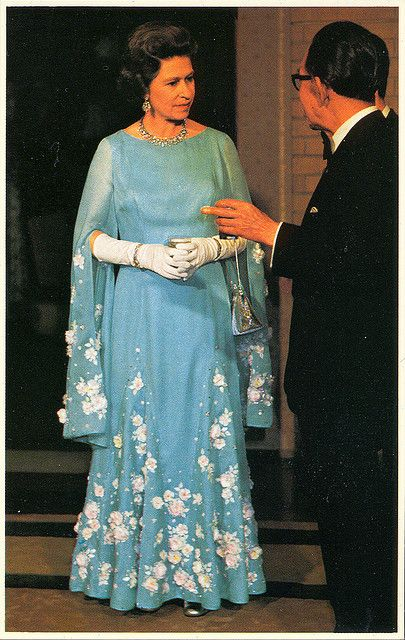 No.11 - Queen Elizabeth II. in Japan, may 1975 by scareface68, via Flickr blue gown white flowers cherry blossom