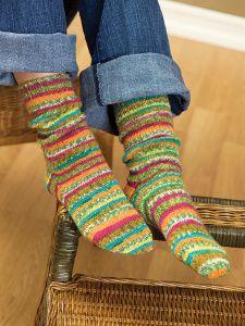 Self-Striping Socks Knitting Pattern   FaveCrafts.com ...