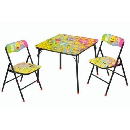 Kids Folding Table Chairs Set Emoji Child Furniture Room Kid