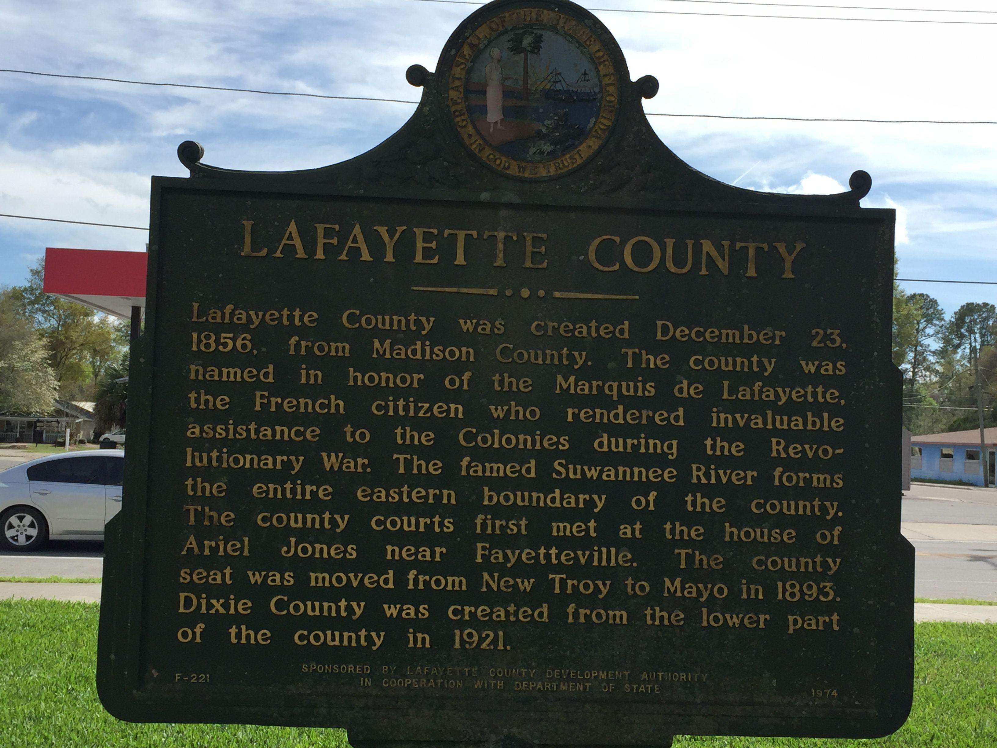 Lafayette county historic sign mayo florida paul