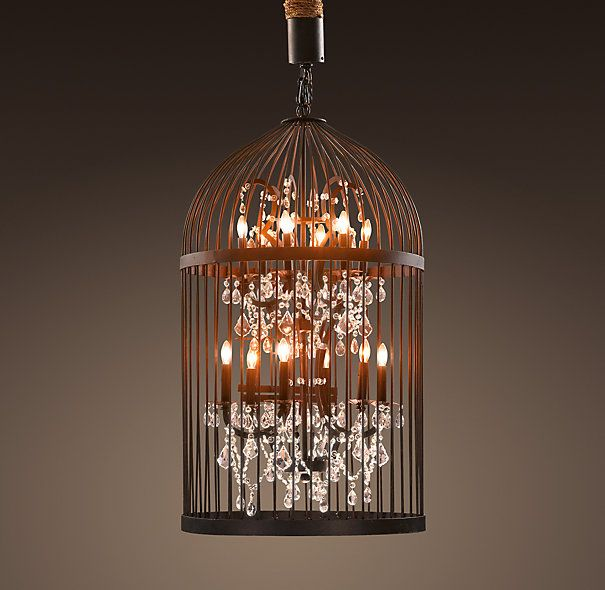 Vintage Birdcage Chandelier Medium | Restoration Hardware - living room chandelier
