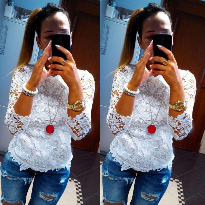 Fashion Women Sexy Long Sleeve Shirt Casual Lace Blouse Loose Cotton Top