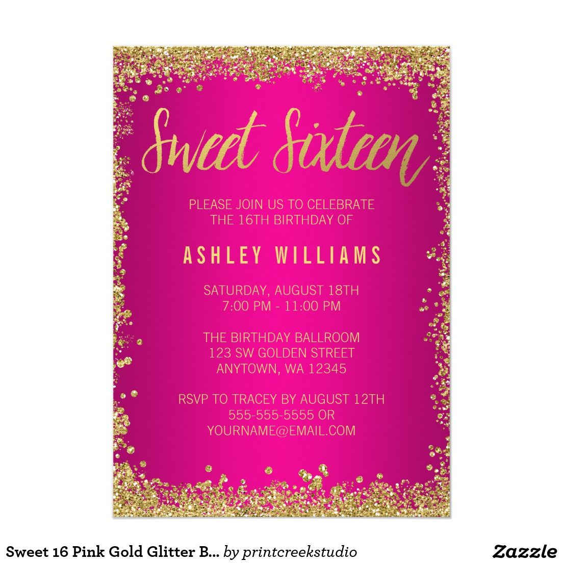 Gold color cardstock paper 5x7 - Sweet 16 Pink Gold Glitter Birthday 5x7 Paper Invitation Card