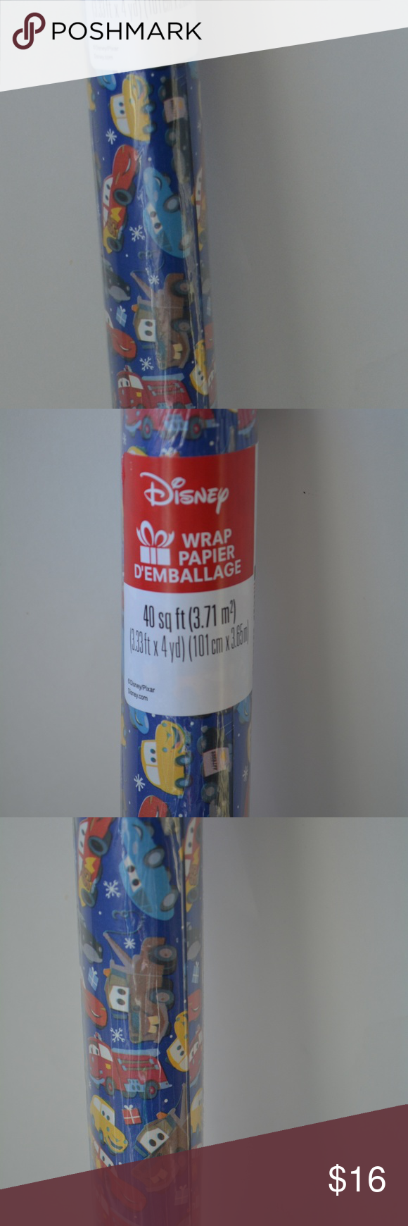Disney CARS Wrapping Paper Christmas Gift Wrap NEW NWT
