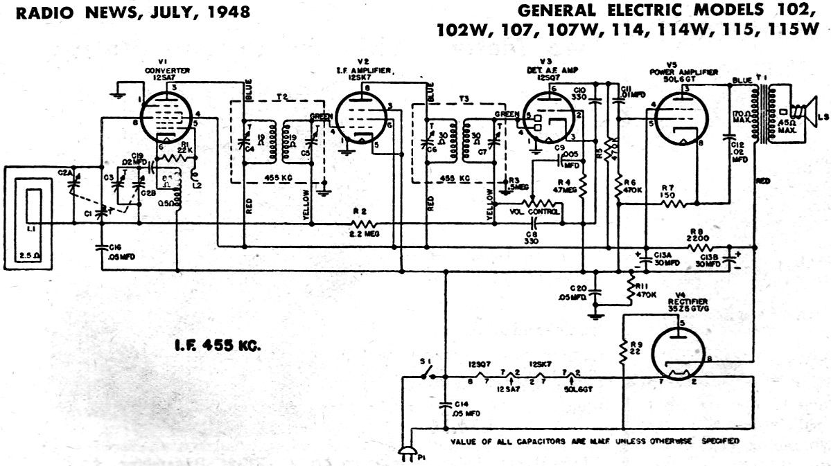 general electric radio schematics posted on am general wiring rh pinterest ie 3-Way Switch Wiring Diagram Residential Electrical Wiring Diagrams