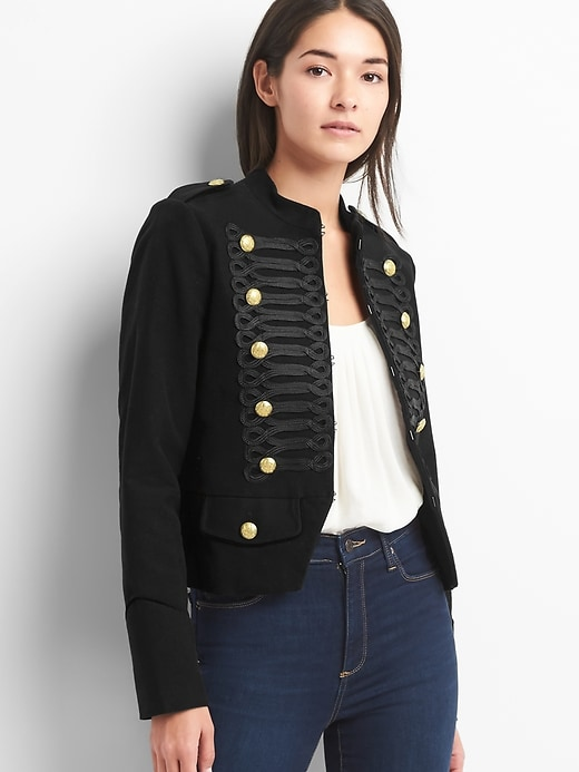 Gap Womens Cropped Band Jacket True Black   Products ...  Cropped