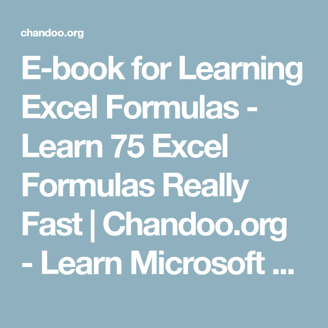 e book for learning excel formulas learn 75 excel formulas really