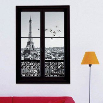 3d stereo eiffel tower upstair window design wall stickers | window