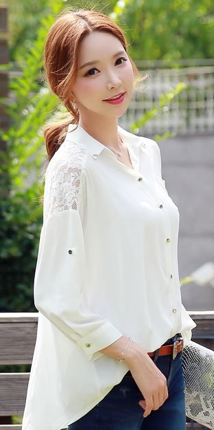 StyleOnme_Floral Lace Shoulder Detail Collared Blouse #white #ivory #floral #lace #blouse #koreanfashion #kstyle #elegant #pretty #summer #dailylook