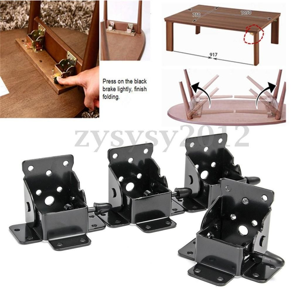 4 X Folding Table Leg Brackets Foldable With Locking In On And Unfolded State Material Iron Color Black Folding Table Legs Table Legs Folding Table