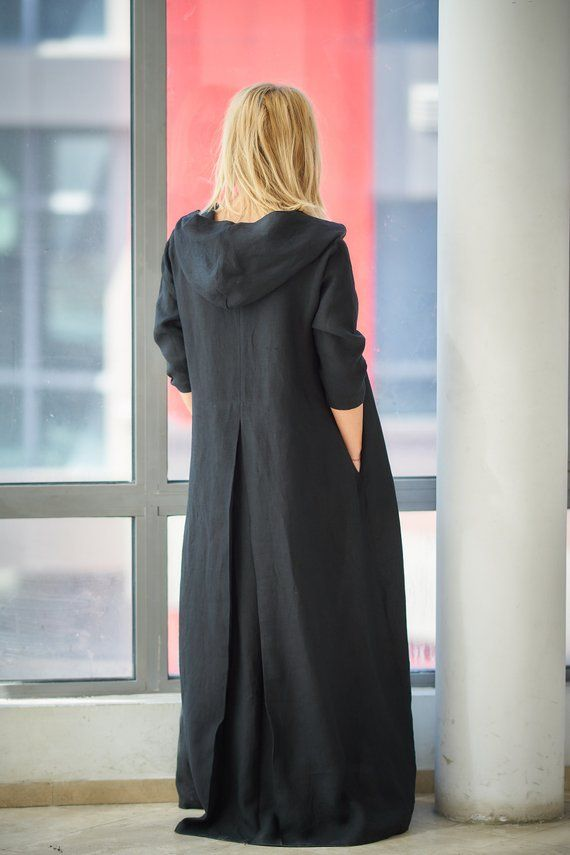 Black Linen Dress, Plus Size Clothing, Linen Clothes, Caftan ...