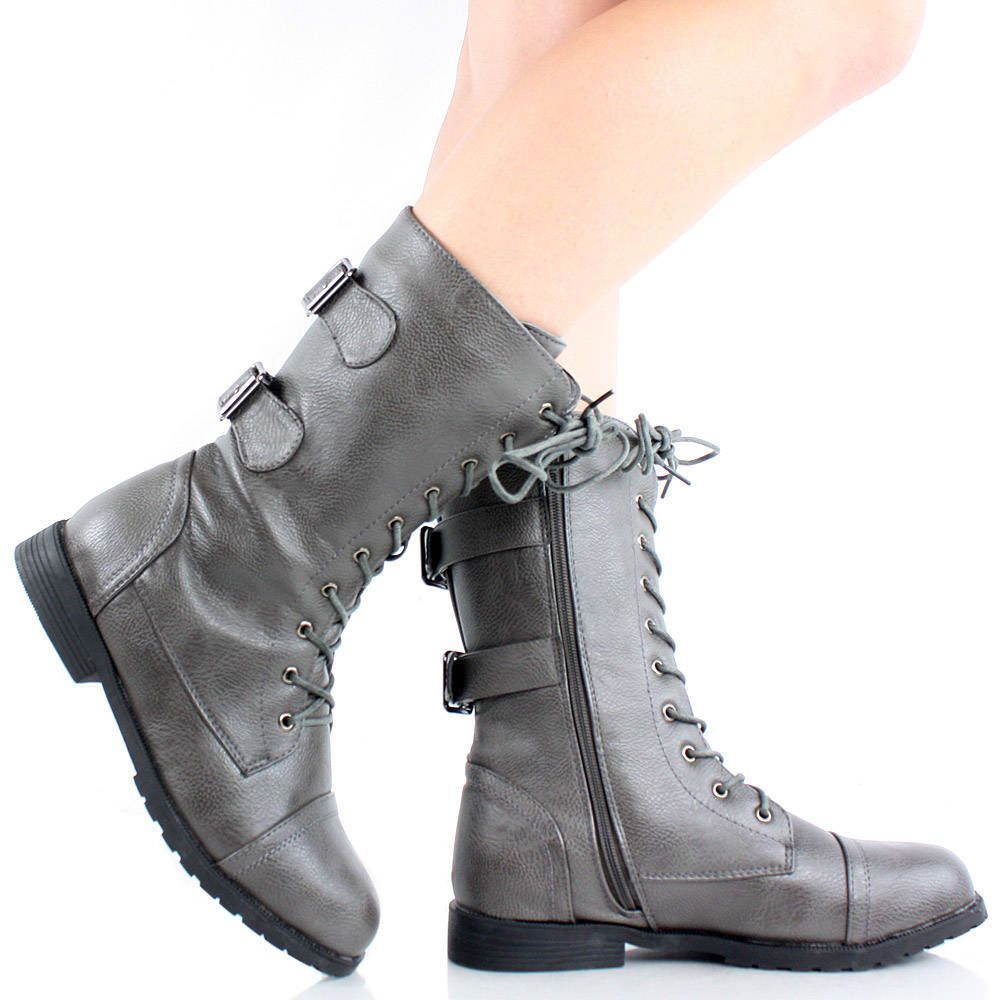 Gray Combat Boots Hiking Lace Up Military Army Mid Calf Faux | So ...