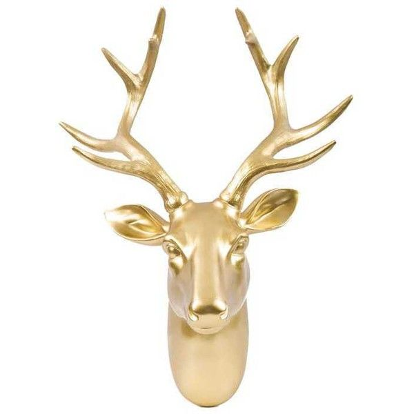 Gold Deer Head Wall Hanger ($60) ❤ liked on Polyvore featuring home ...