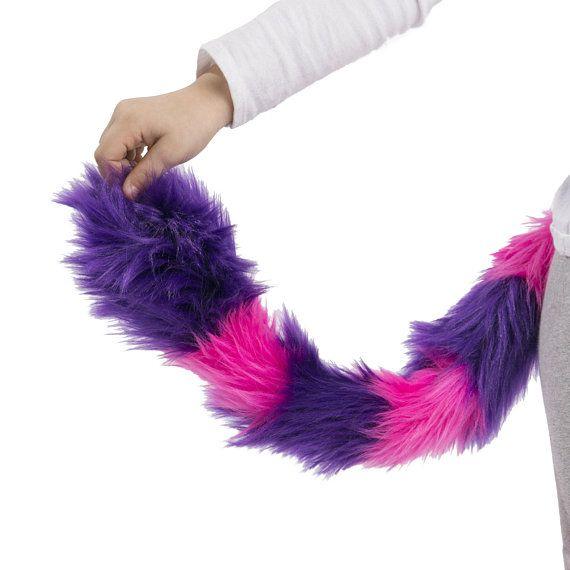 PawstarKIDS - Kids Size Cheshire Cat Ears   Tail Set - Furry Headband Kitty  Plush Pink Purple Teal G e6790a5bfae