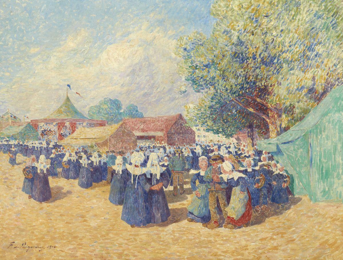 Ferdinand Loyen Du Puigaudeau 1864 1930 Fete Foraine En Bretagne 1900 Huile Sur Toile Signee Et Datee En Bas A Gauche 50 5 X 65 5 C Bretagne Foraine Peintre