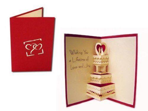 Unsere Hochzeitskarte mit Hochzeitstorte (DE). Mehr entdecken auf: www.lin-popupkarten.de