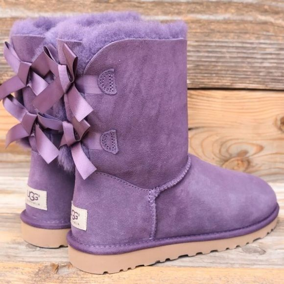 60c15f9ac0d UGG Bailey Bow Purple Velvet Sheepskin Boots US 6 No trades! These ...