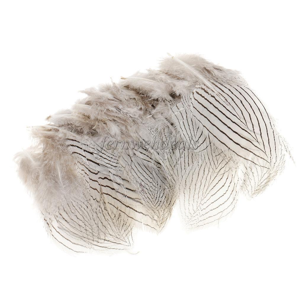100pcs White Pheasant Feathers 5-10cm Natural DIY Jewelry Decor Crafts Plume