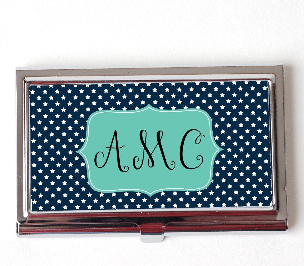 Star Monogram Business Card Case - Navy Blue Monogram Business Card ...