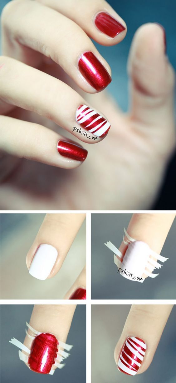 Christmas Nail Design Candy Cane Peppermint Nails Step By Step