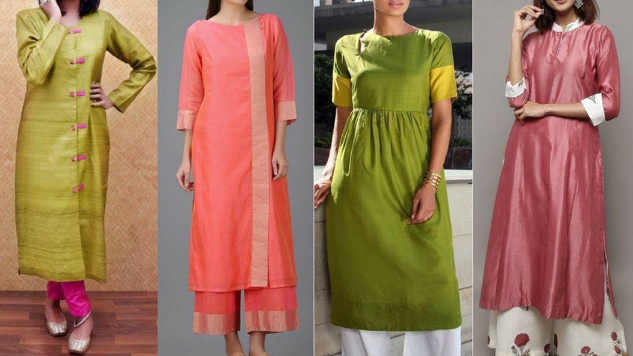 Latest Simple Silk Kurti Design Ideas For Daily Office Wear Office Wea Kurti Designs Kurti Designs Latest Silk Kurti