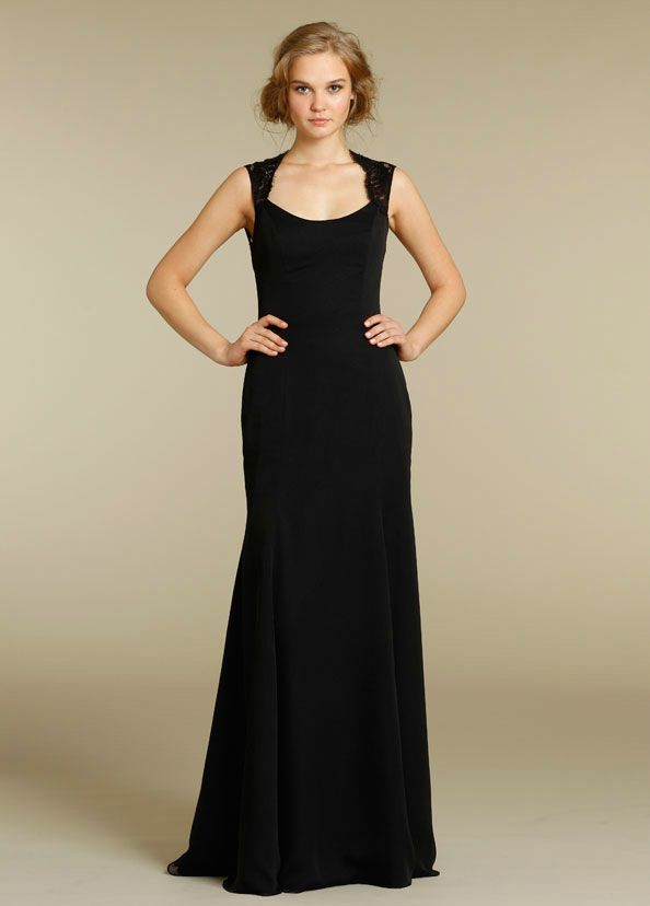Straps Open Back Floor Length Lace Elegant Black Bridesmaid ...