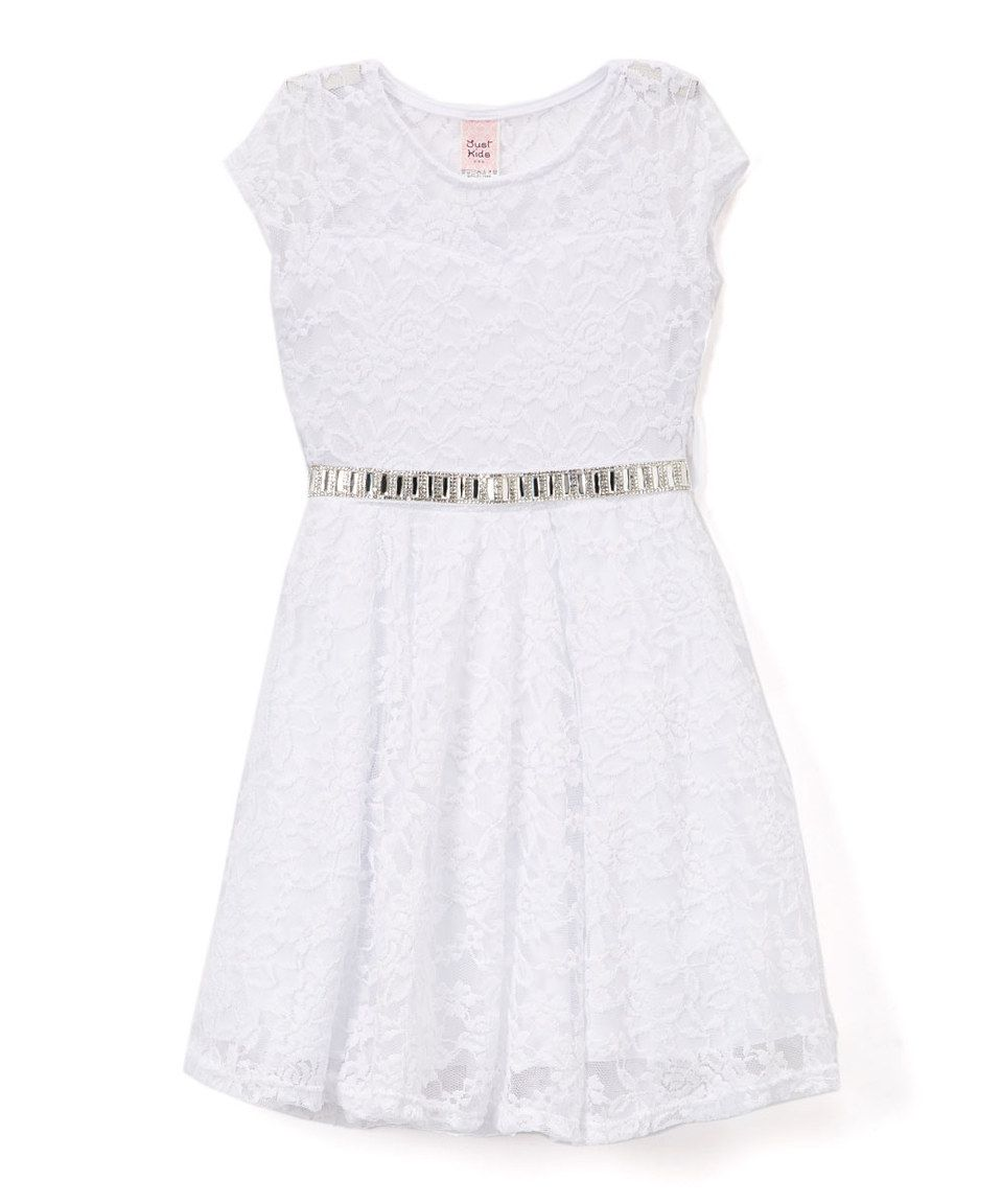 73fe07c9dd30 Love this Just Kids White Lace Skater Dress - Toddler   Girls by ...